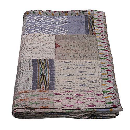 SHUBHARAMBH ENTERPRISES Patchwork-Decke aus grauer Seide, Patchwork-Design, Boho-Seide, Kantha-Steppdecke, Bohemian-Stil, Queensize, Hippie-Decke, wendbar, Gudri