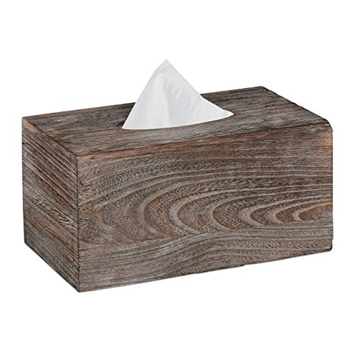 Relaxdays Caja de pañuelos, Portapañuelos con Suelo Deslizante, Dispensador de toallitas, Marrón, 13x26,5x14,5 cm, Madera
