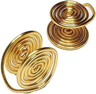 Golden Tone Wire Wrapped Clip-on Earrings, about 12mm, Handmade in USA by Earlums