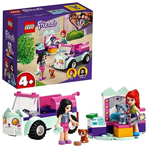 LEGO 41439 Friends Mobiler Katzensalon Set mit Mini Tierfiguren und Mini Puppen Emma & Mia, Spielzeug ab 4 Jahren