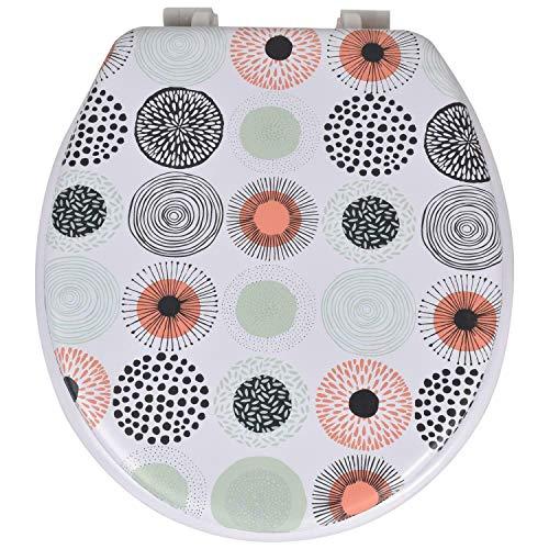 True Face Abattant WC rembourré doux avec fixations universelles résistantes facile à nettoyer 17 cercles Blanc