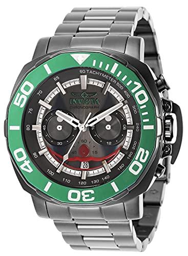 Invicta Reloj de cuarzo para hombre DC Comics Joker con correa de acero inoxidable, Gunmetal, 24 (Modelo: 35074)