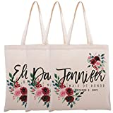 Personalized Tote Bag for Events Bachelorette Party Baby Shower Bridal Shower Bridesmaid Christmas Gift Bag   Customize Maid and Matron of Honor Gifts   Red Floral   C1D11-Set of 6