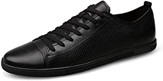 HaiNing Zheng Fashion Sneaker for Men Sports Shoes Lace Up Style OX Leather Low Top Breathable Hollow Vamp Rubber Outsole (Color : Black, Size : 6 UK)