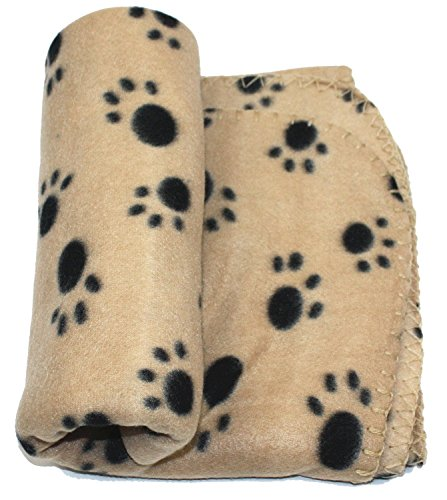 WZYuan Puppy Blanket Paw Prints Pet Cushion Small Dog Cat Bed Soft Warm Sleep Mat, Small, Beige Review