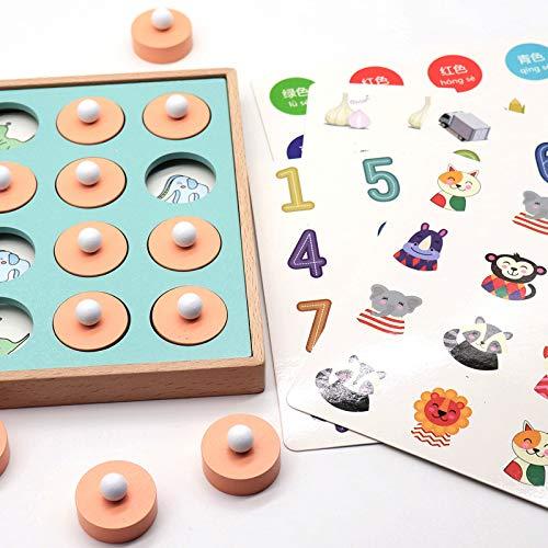 Juguete de ajedrez con Memoria combinada, Juego de Rompecabezas de emparejamiento de Madera Juego Playessor Montessori Juego de Entrenamiento Educativo