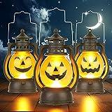 Kürbis Licht, 3 Stück Halloween Laterne mit LED Kerze, Kürbis Laterne Teelichter Batterie LED Kürbis Licht Vintage Laterne Nachtlicht Tragbare Kürbis Lichter für Halloween Deko