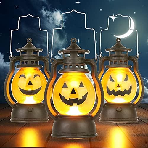 3 Pezzi Lanterne di Zucca di Halloween, Portatili LED Lanterne a Candela, Alimentate a Batteria, Luci di Zucca per Interni e Esterni per Decorazioni per Feste di Halloween