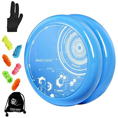 MAGICYOYO Looping Yoyo for Kids D3 Dawn, Responsive Yoyo for Beginners, Easy to Play and Practise Basic Looping Tricks, with 5 Replacement Yo-yo Strings, Yo Yo Glove, Yoyo Bag (Blue)