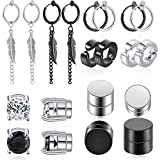 Set of 10 Pairs Non-perforated Magnetic Studs Stainless Steel Non-perforated Feather Cross Dangling Hinged Earrings Clip on Cz Magnet Earrings for Men and Women