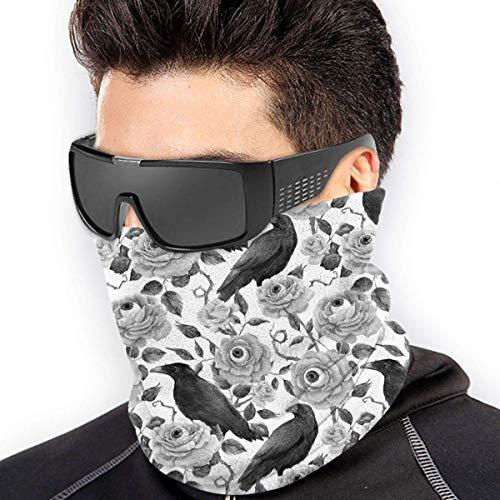 ShiHaiYunBai Tour de Cou Cagoule Microfibre Chapeaux Tube Masque Visage, Neck Gaiter Warmer Windproof Mask Dust - Free UV Face Mask - Black And White Crow