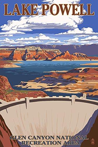 Lac de barrage de Powell View, Papier, multicolore, 9 x 12 Art Print