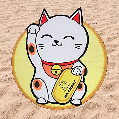 Toalla de Playa Microfibra Forma de Gato Chino - Fabricado en Poliéster y Nylon, 148x148 cm.