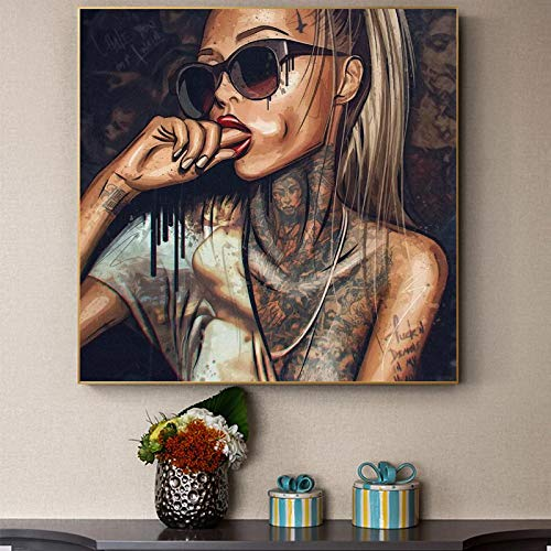 Pintura de Lienzo Abstracta Africana Negra con Tatuaje de Pared, imágenes artísticas, Carteles e Impresiones para la decoración del hogar de la habitación, 85x85cm sin Marco