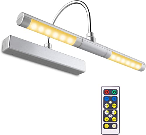 BIGLIGHT Wireless Battery Operated LED Picture Light with Remote, 13 Inches Rotatable Light Head with 3 Lighting Mode...