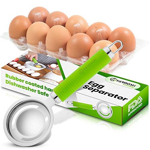 Yarmoshi Edelstahl-Eiertrenner, filtert Eigelb von Eiweiß mit Leichtigkeit, Küchengerät zum Kochen und Backen mit rutschfestem, gummiertem ergonomischem Griff, spülmaschinenfest