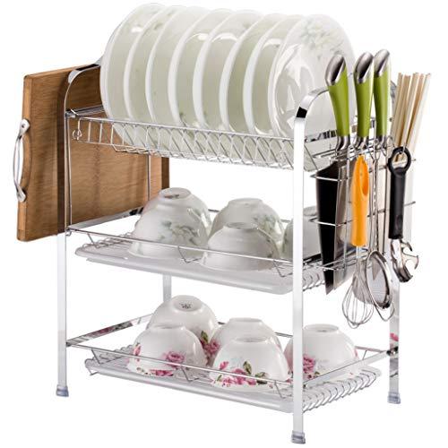 WXJY 3-laags gebogen afdruiprek, compact multifunctioneel rek voor afwas, creatieve keukenbenodigdheden opslag