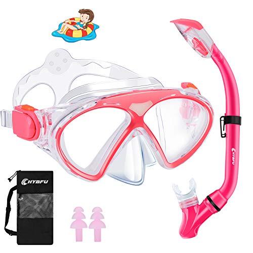 CHYBFU Niño Kit de Máscara y Tubo para Snorkelling, Panorámica de 180° Gafas y Máscaras de Buceo de Cristal Templado y Dry Top Snorkel, Packs de Snorkel Anti-Fugas para Snorkel, Natación Y Buceo