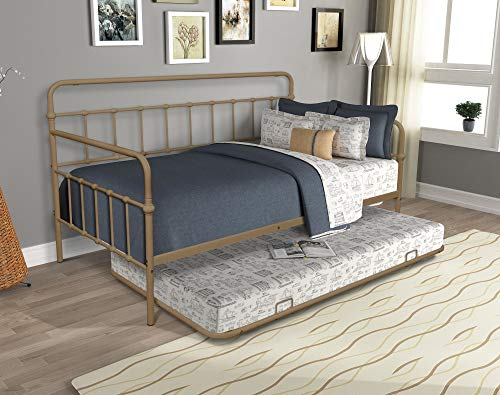 Firlar Twin Size Daybed with Trundle, Metal Frame Roll Out Trundle Bed with Metal Slat Support,Platform Bed,Box Spring not Required
