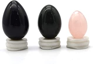 Yoni Eggs for Women, Undrilled Jade Eggs More Safer and Healthier, PC Muscles Training and Kegel Exercise Tools, 3pcs Massage Healing StoneBlack Obsidian,Nephrite Jade and Rose Quartz