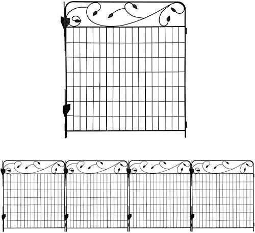AshmanOnline Garden Fence 44in x 3ft - Outdoor Metal Landscape Fencing Steel Wire Gate Border Edge Folding Patio Flower Bed Animal Barrier Section Edging Black (Set of 4)