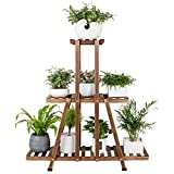 MUDEELA 3 Tier Wood Plant Stand, Indoor Tall Plant Stand for Living Room Corner, Multiple Flower Pot Holder Shelf, Tiered Plant Rack, Outdoor Ladder Plant Stand