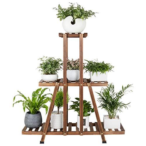 MUDEELA 3 Etagen Holz Pflanzenständer, Indoor Hoher Pflanzenständer für Wohnzimmer Ecke, Mehrere Blumentopfhalter Regal, Etagen Pflanzenregal, Outdoor Leiter Pflanzenständer
