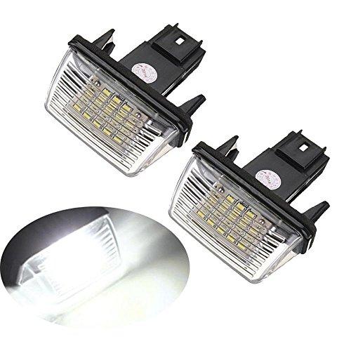 GZCRDZ Lot de 2 ampoules LED 12 V pour plaque d'immatriculation 206 207 306 307 308 406 407 5008 C3 C3 II C3 C3 C3 C4 C5 (Blanc)