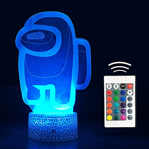 Ginkago Ammongs Us 3D Nachtlicht für Kinder 16 Colors Ammong Theme Character Crewmate LED Atmosphere Night Light