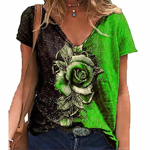 LYAZFC Camiseta Estampada con Cuello en V de Flor Rosa romántica 3D para Mujer de Verano