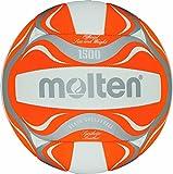 Molten Beachvolleyball BV1500-OR, 5, Orange/Weiß/Silber, 5