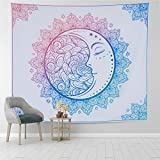 Pocass Mandala Moon Stars Tapestry Wall Hanging Colorful Bohemian Moon Face Psychedelic Wall Tapestries for Bedroom Living Room Dorm, 51.2ʺx59.1ʺ