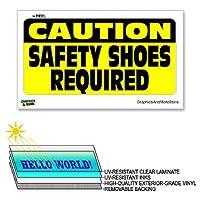 注意安全靴sの必須 - 中×6で12 - ラミネート符号ウィンドウビジネスステッカー
