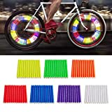 Enmoo Bike Spoke Reflector 7 Sets/84Pcs Bicycle Wheel Spoke Reflector Reflective Mount Clip Tube Warning Strip Waterproof Bicycle Spoke Reflectors