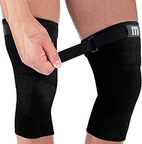 Mava Sports Knee Compression Sleeve Support with Adjustable Strap for Men and Women. Perfect for Powerlifting, Weightlifting, Running, Gym Workout, Squats and Pain Relief (All Black - Strap, Medium)