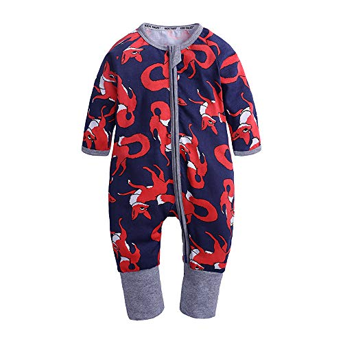 Kids Tales Baby Girls Long Sleeve Zipper Romper Baby Fox Print 1 Piece Pajama