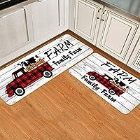 Farm Family ファームキッチンマット クッション付き 抗疲労 2点セット 滑り止め 防水 キッチンフロアマット スタンドキッチンマット 農家 トラック 木製厚板