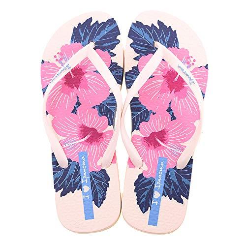 Chanclas de verano para mujer Ipanema I Love Floral, fabricadas en flexpand de un material 100% vegano y reciclable, ideal para la playa, la piscina y para los paseos de verano - blanco/rosa 38