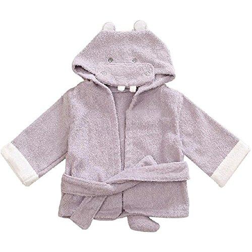 Fortuning's JDS® Diseño del hipopótamo de algodón con Capucha Albornoz niño (0-2 años)