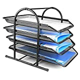 JD9 Metal Mesh 4 Tier Document Tray, File Tray, File Rack for A4 Size Documents/Files/Papers/Letters/folders Holder Desk Organizer (Black)