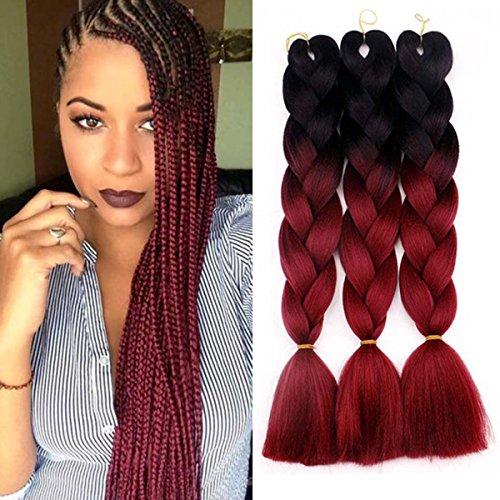 Jumbo Braids Coloré Synthétique Kanekalon Extensions de Cheveux pour DIY Crochet Box Tressage Ombre 100g/pc 2Tone Noir-Vin Rouge 3pcs/Lot 61cm(24 pouces)