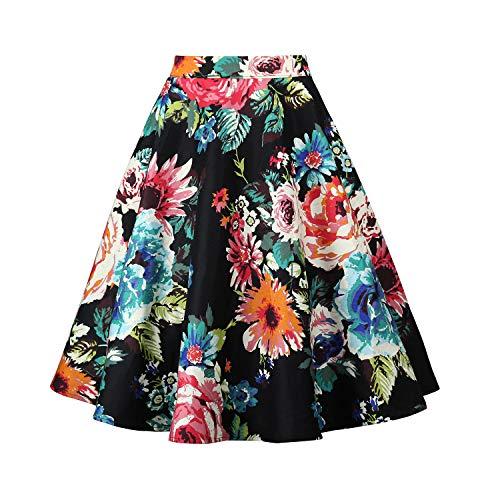 SEMIR Mujeres Faldas Vintage Estampado Floral de Cintura Alta Plisado una línea menear Rodilla Falda hasta la Rodilla Negro M