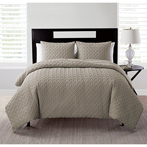 VCNY Home | Nina Collection | Soft & Cozy Geometric Embossed Microfiber Comforter, Premium 3 Piece Bedding Set, Stylish Chic Design for Home Décor, King, Taupe