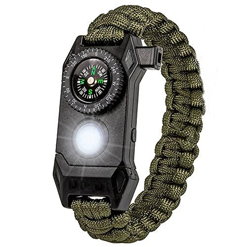 Shengyang, pulseras de supervivencia para mujeres, pulsera de salvamento ajustable, kit de equipos de emergencia incluyendo linterna, brújula más grande, termómetro, silbato de rescate, -army green