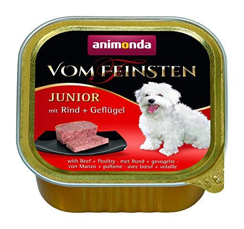 animonda Vom Feinsten Hundefutter Junior, Nassfutter für Hunde im Wachstum, Rind + Geflügel, 22 x 150 g