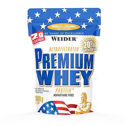 Weider Premium Whey Proteinpulver, Low Carb Proteinshakes mit Whey Protein Isolat, Vanille-Karamell, (1x 500g)