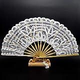 TSP Abanicos de mano plegables de encaje para mujer, color negro, de bambú personalizado para decoración de boda antigua, color blanco, tamaño del ventilador: 10.5 pulgadas