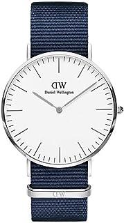 Daniel Wellington DW00100276 Fabric-Band White-Dial Round Analog Unisex Watch - Navy