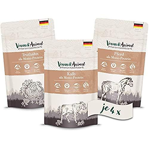 Venandi Animal - Pienso Premium para Gatos - PAQUEE DE Prueba II 4*Caballo, 4*Ternero, 4*Pavo - Completamente Libre de Cereales - Pouches 12 x 125 g