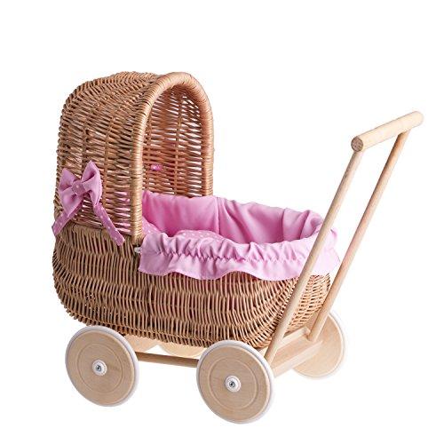 e-wicker24 EIN Wagen, EIN Bett für Puppen aus Weide, Spielzeug aus Holz, Puppenwagen aus Weide, Korbpuppenwagen, Weidenwagen